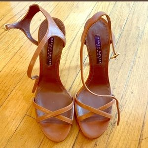 """Ralph Lauren Collection 5"""" leather strappy heels"""